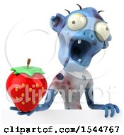 Clipart Of A 3d Blue Zombie Holding A Strawberry On A White Background Royalty Free Illustration by Julos