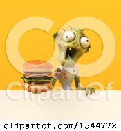 Clipart Of A 3d Zombie Holding A Burger On A Yellow Background Royalty Free Illustration by Julos