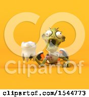 Clipart Of A 3d Zombie Holding A Tooth On A Yellow Background Royalty Free Illustration by Julos