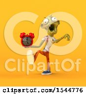 Clipart Of A 3d Zombie Holding An Alarm Clock On A Yellow Background Royalty Free Illustration by Julos