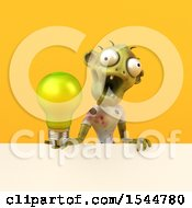 Clipart Of A 3d Zombie Holding A Light Bulb On A Yellow Background Royalty Free Illustration by Julos