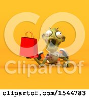 Clipart Of A 3d Zombie Holding A Shopping Bag On A Yellow Background Royalty Free Illustration by Julos