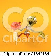 Clipart Of A 3d Zombie Holding A Piggy Bank On A Yellow Background Royalty Free Illustration by Julos