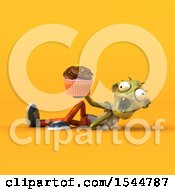 Clipart Of A 3d Zombie Holding A Cupcake On A Yellow Background Royalty Free Illustration by Julos