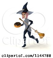 Clipart Of A 3d Sexy Blue Witch Holding A Donut On A White Background Royalty Free Illustration by Julos