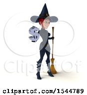 Clipart Of A 3d Sexy Blue Witch Holding A Dollar Sign On A White Background Royalty Free Illustration by Julos