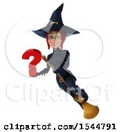 Clipart Of A 3d Sexy Blue Witch Holding A Question Mark On A White Background Royalty Free Illustration by Julos