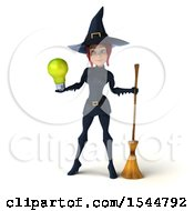 Clipart Of A 3d Sexy Blue Witch Holding A Light Bulb On A White Background Royalty Free Illustration by Julos