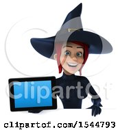 Clipart Of A 3d Sexy Blue Witch Holding A Tablet On A White Background Royalty Free Illustration by Julos