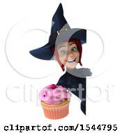 Clipart Of A 3d Sexy Blue Witch Holding A Cupcake On A White Background Royalty Free Illustration by Julos