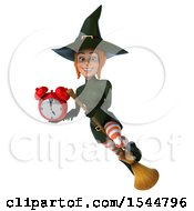 Clipart Of A 3d Sexy Green Witch Holding An Alarm Clock On A White Background Royalty Free Illustration by Julos
