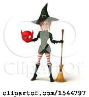 Clipart Of A 3d Sexy Green Witch Holding A Devil On A White Background Royalty Free Illustration by Julos