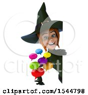 Clipart Of A 3d Sexy Green Witch Holding Messages On A White Background Royalty Free Illustration by Julos