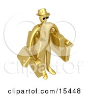 Golden Male Tourist In A Hat And Sunglasses Carrying Armloads Of Heavy Luggage