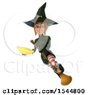 Clipart Of A 3d Sexy Green Witch Holding A Banana On A White Background Royalty Free Illustration by Julos