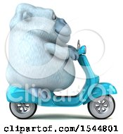Clipart Of A 3d White Monkey Yeti Riding A Scooter On A White Background Royalty Free Illustration
