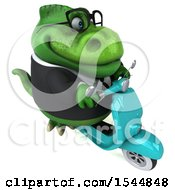 Clipart Of A 3d Green Business T Rex Dinosaur Riding A Scooter On A White Background Royalty Free Illustration