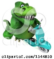 Clipart Of A 3d Green T Rex Dinosaur Riding A Scooter On A White Background Royalty Free Illustration