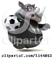 Clipart Of A 3d Business Rhinoceros Holding A Soccer Ball On A White Background Royalty Free Illustration by Julos