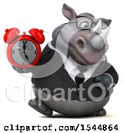 Clipart Of A 3d Business Rhinoceros Holding An Alarm Clock On A White Background Royalty Free Illustration by Julos