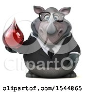 Clipart Of A 3d Business Rhinoceros Holding A Blood Drop On A White Background Royalty Free Illustration by Julos