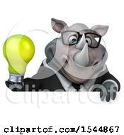Poster, Art Print Of 3d Business Rhinoceros Holding A Light Bulb On A White Background