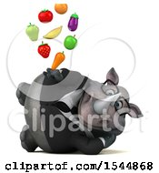 Clipart Of A 3d Business Rhinoceros Holding Produce On A White Background Royalty Free Illustration by Julos