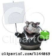 Clipart Of A 3d Business Rhinoceros Holding A Gas Can On A White Background Royalty Free Illustration by Julos