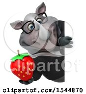 Clipart Of A 3d Business Rhinoceros Holding A Strawberry On A White Background Royalty Free Illustration by Julos