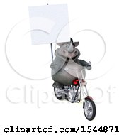 Clipart Of A 3d Rhinoceros Riding A Chopper Motorcycle On A White Background Royalty Free Illustration by Julos