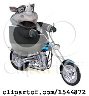 Clipart Of A 3d Business Rhinoceros Riding A Chopper Motorcycle On A White Background Royalty Free Illustration by Julos