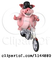 3d Chubby Pig Riding A Chopper Motorcycle On A White Background