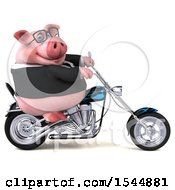 3d Chubby Business Pig Riding A Chopper Motorcycle On A White Background