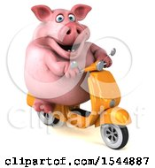 Clipart Of A 3d Chubby Pig Riding A Scooter On A White Background Royalty Free Illustration