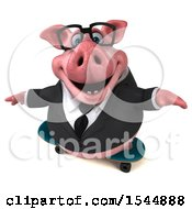 3d Chubby Business Pig Skateboarding On A White Background
