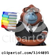 Clipart Of A 3d Business Orangutan Monkey Holding Books On A White Background Royalty Free Illustration by Julos