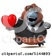 Clipart Of A 3d Business Orangutan Monkey Holding A Heart On A White Background Royalty Free Illustration by Julos