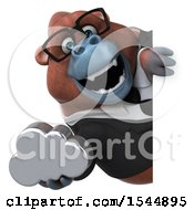 Clipart Of A 3d Business Orangutan Monkey Holding A Cloud On A White Background Royalty Free Illustration by Julos