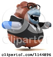Clipart Of A 3d Business Orangutan Monkey Holding A Pill On A White Background Royalty Free Illustration by Julos