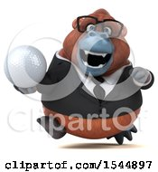 Clipart Of A 3d Business Orangutan Monkey Holding A Golf Ball On A White Background Royalty Free Illustration by Julos