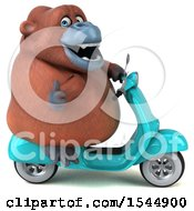 Clipart Of A 3d Orangutan Monkey Riding A Scooter On A White Background Royalty Free Illustration