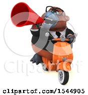 Clipart Of A 3d Business Orangutan Monkey Riding A Scooter On A White Background Royalty Free Illustration