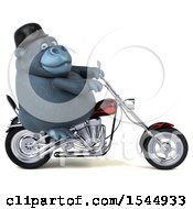 Clipart Of A 3d Gorilla Riding A Choppe Rmotorcycle On A White Background Royalty Free Illustration by Julos