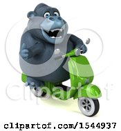 Clipart Of A 3d Gorilla Riding A Scooter On A White Background Royalty Free Illustration