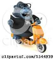 Clipart Of A 3d Business Gorilla Riding A Scooter On A White Background Royalty Free Illustration