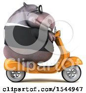 Clipart Of A 3d Business Hippo Riding A Scooter On A White Background Royalty Free Illustration