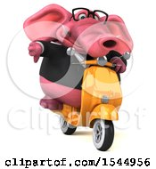 Clipart Of A 3d Pink Business Elephant Riding A Scooter On A White Background Royalty Free Illustration