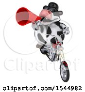 Clipart Of A 3d Holstein Cow Riding A Chopper Motorcycle On A White Background Royalty Free Illustration by Julos