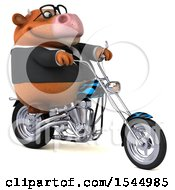 Clipart Of A 3d Brown Business Cow Biker Riding A Chopper Motorcycle On A White Background Royalty Free Illustration by Julos