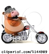Clipart Of A 3d Brown Cow Biker Riding A Chopper Motorcycle On A White Background Royalty Free Illustration by Julos